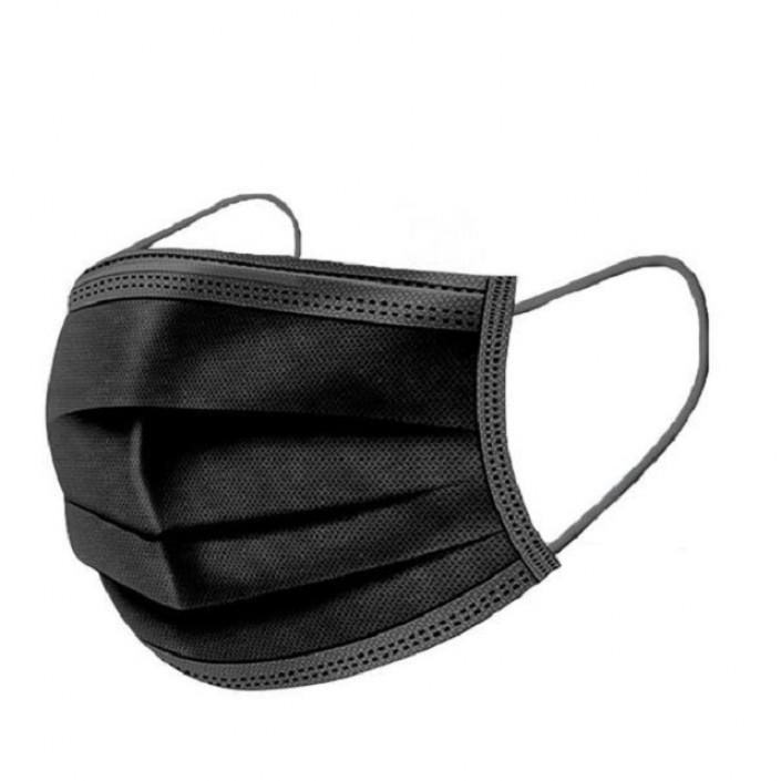 Set 50 bucati, Masti negre de unica folosinta, 3 straturi